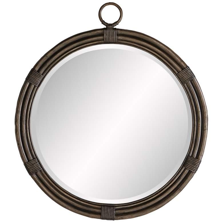 "Whitlock Gray Wash 29 1/2"" x 34"" Round Wall Mirror"