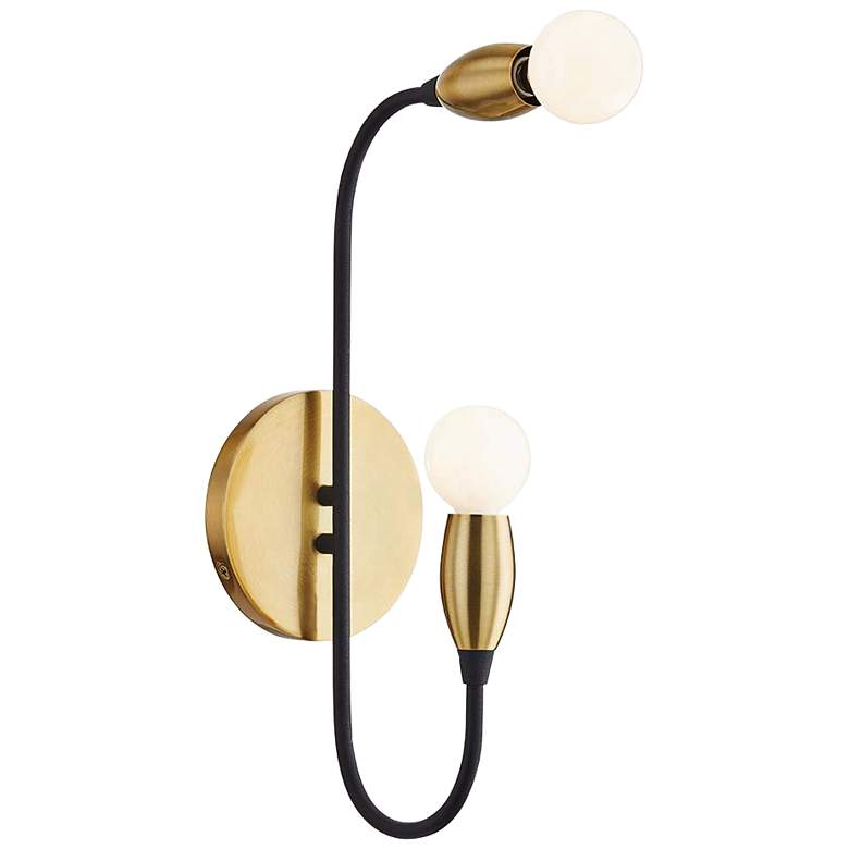"Mitzi Dakota 14 1/2"" High 2-Light Aged Brass Wall Sconce"
