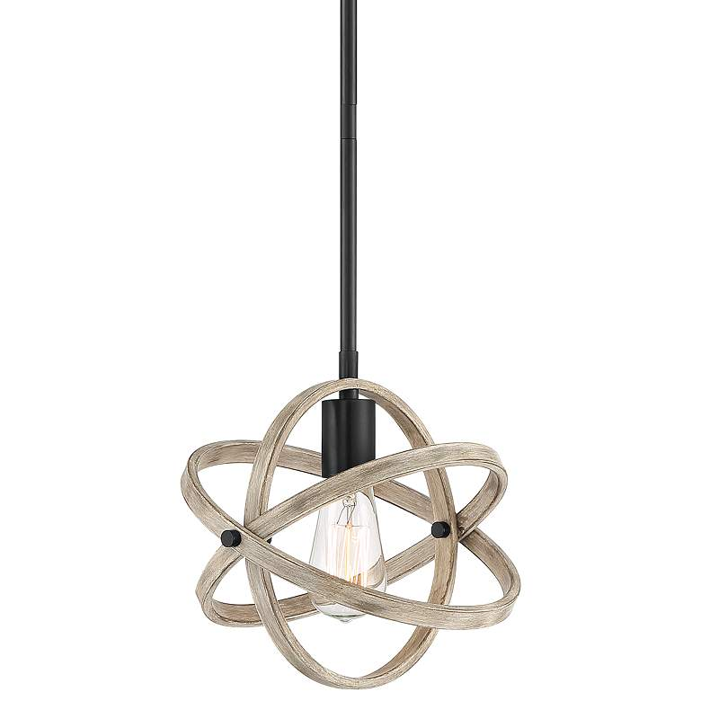 "Possini Euro Atomica 10"" Wide Black and Wood Pendant Light"