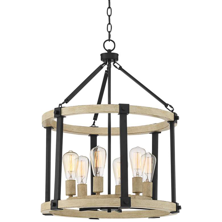 "Rickland 22"" Wide Black and Wood 6-Light Pendant Chandelier"