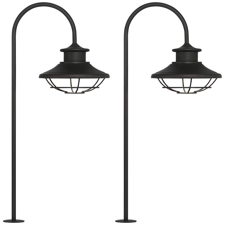 "Braden 23 1/2"" High Textured Black LED Path Lights Set of 2"