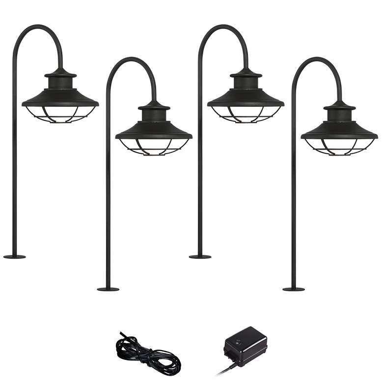Braden Textured Black 6-Piece LED Landscape Path Light