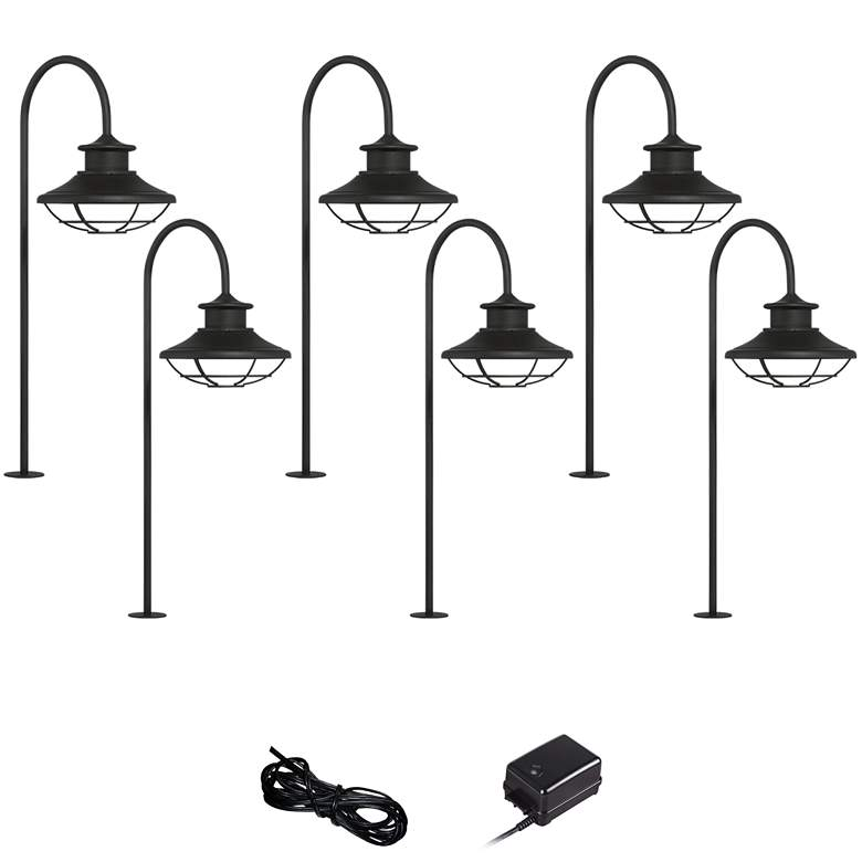 Braden Textured Black 8-Piece LED Landscape Path Light Set