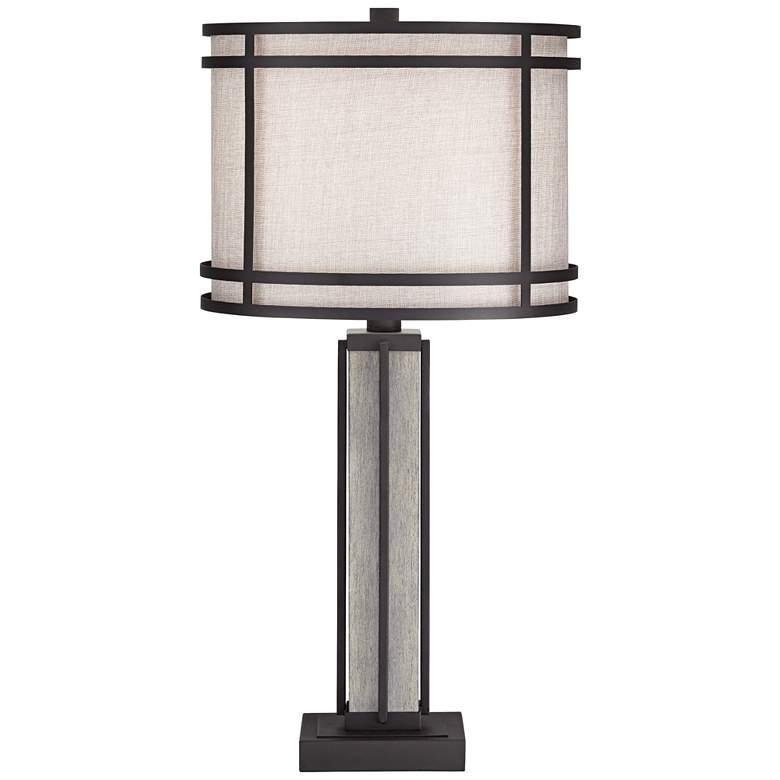 Rudy Dark Bronze and Gray Wood Column Table Lamp