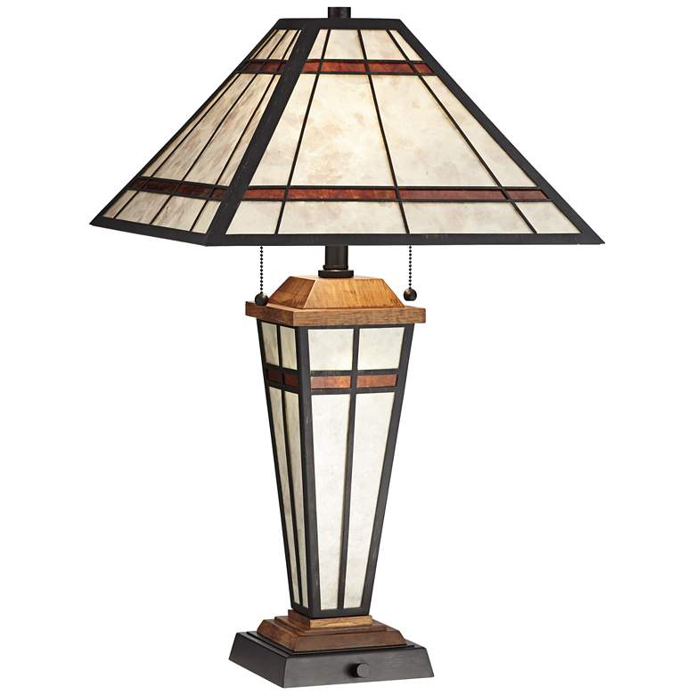 Warren Mica Farmhouse Table Lamp with LED Night Light