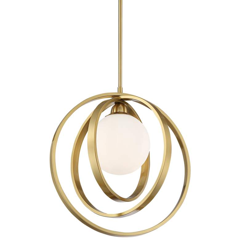 "Braxton 16 1/2"" Wide Brass Multi Circular LED Pendant Light"