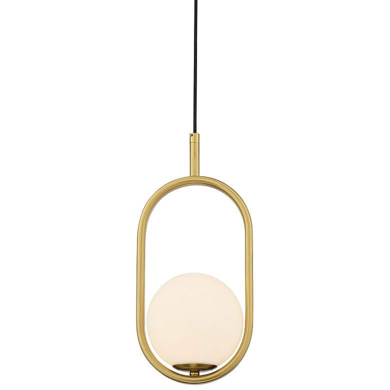 "Braxton 7 1/4"" Wide Brass and Opal Glass Mini Pendant Light"