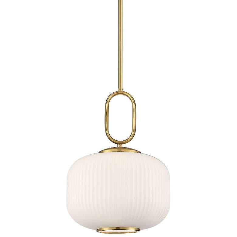 "Braxton 12"" Wide Gold and Opal Glass Mini Pendant Light"