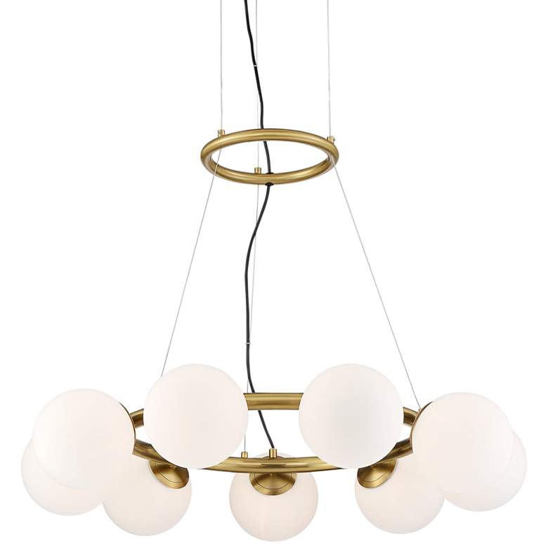 "Jevan 31 3/4""W Brass and Opal Glass 9-Light LED Pendant"