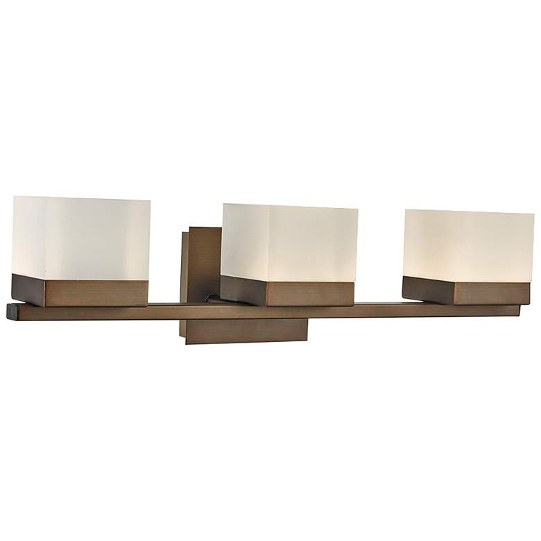 "Cubic 22 1/2"" Wide Bronze 3-Light Metal LED Bath Light"