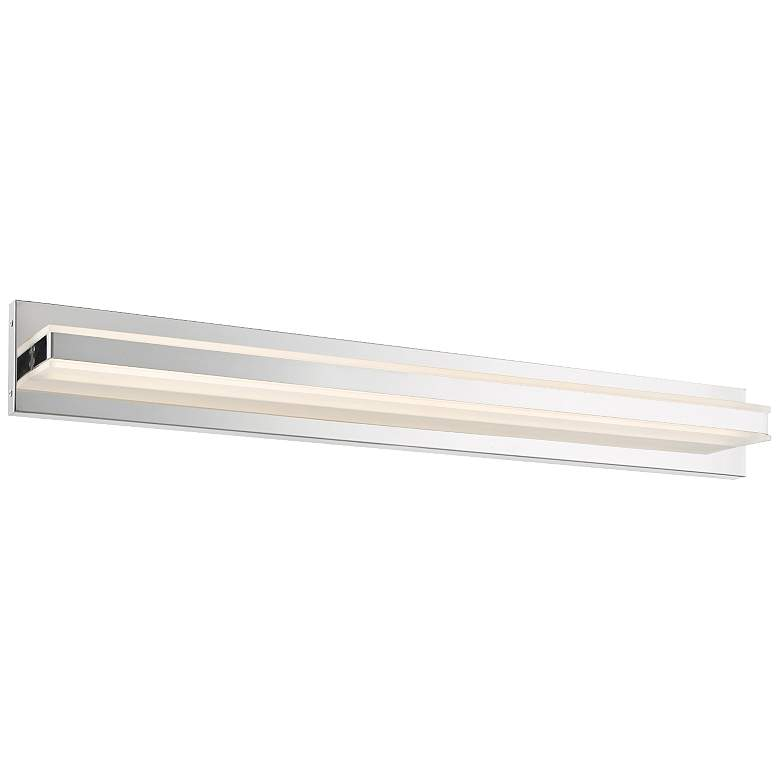 "Fusion 36"" Wide Chrome Metal Rectangular LED Bath Light"