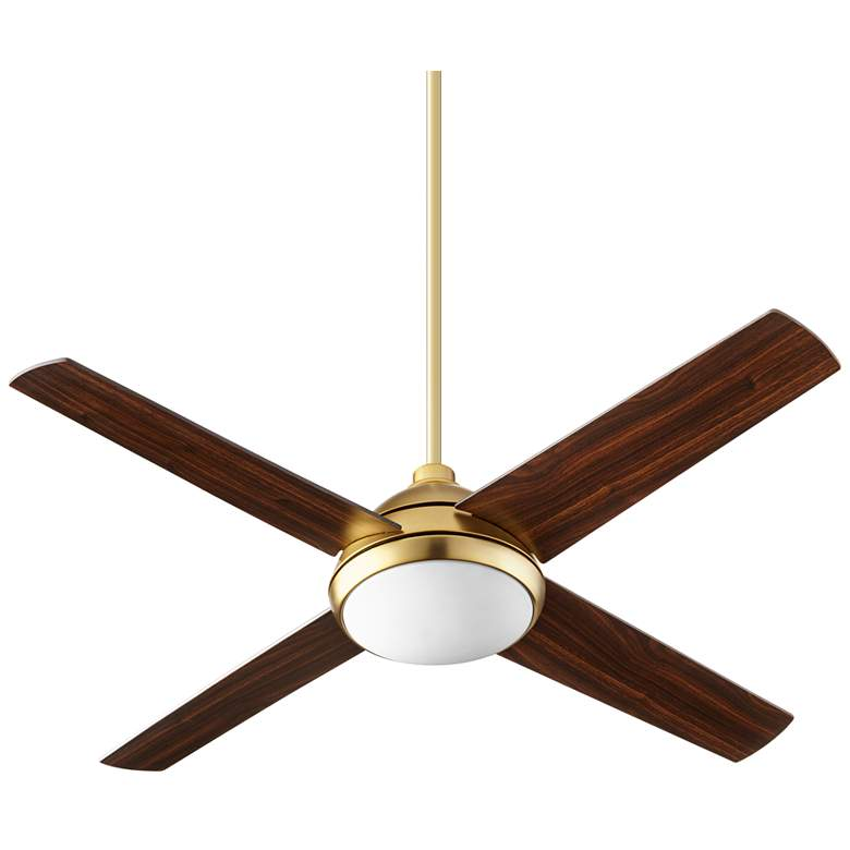 "52"" Quorum Quest Aged Brass LED Ceiling Fan"