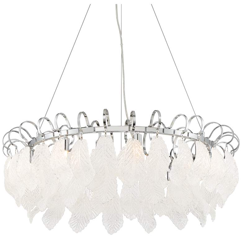 "Amberine 29"" Wide Chrome and Clear Glass Pendant Light"