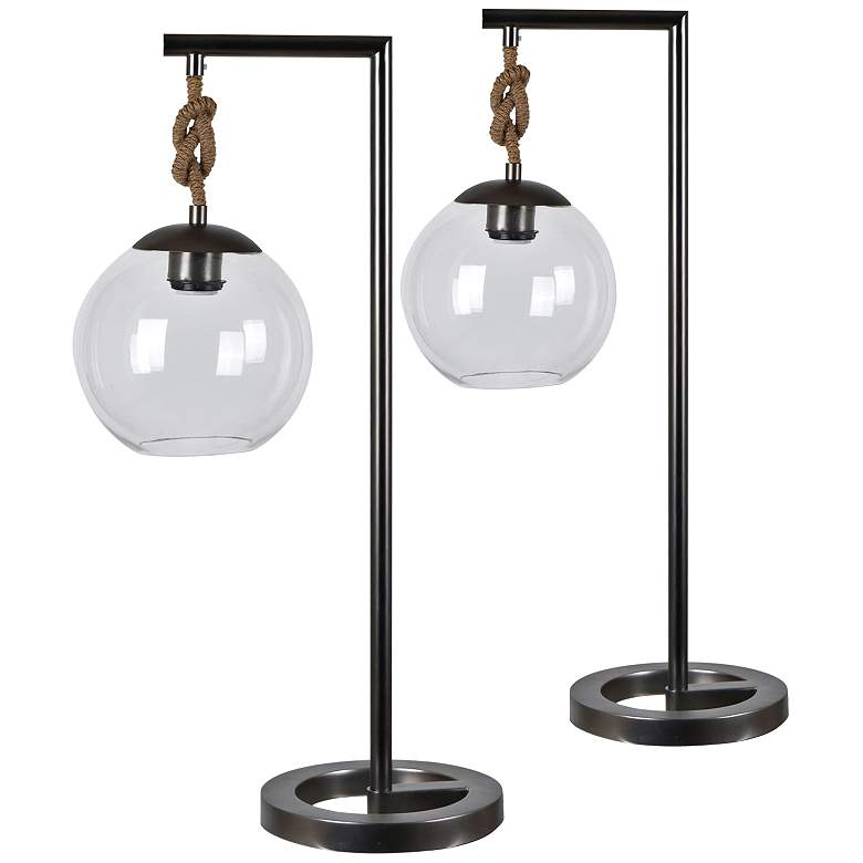 Crestview Collection Brooks Gunmetal Desk Lamps Set of 2