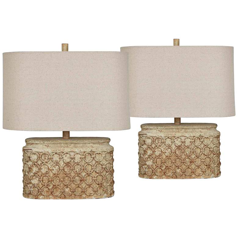 Chains Aged Gray Accent Table Lamps Set of
