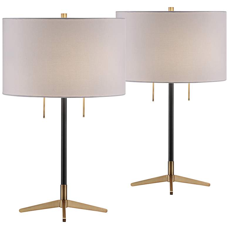 Crestview Collection Veda Gunmetal Table Lamps Set of