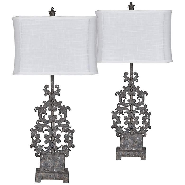 Flower Sculptural Rust Iron Table Lamps Set of