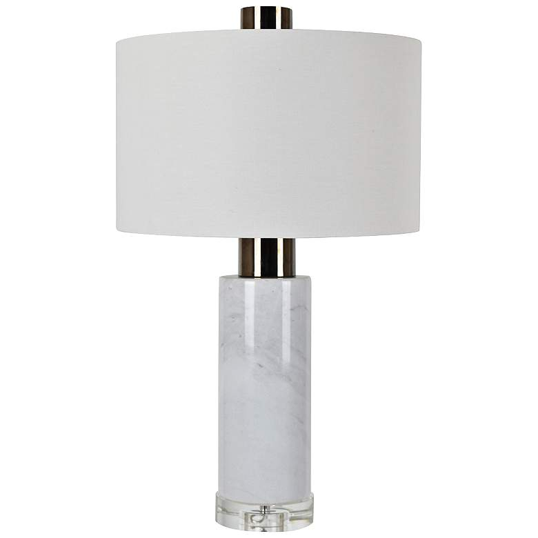 Holder White Marble and Black Nickel Cylinder Table