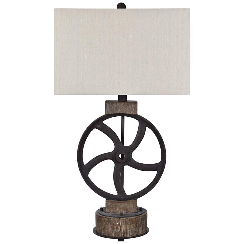 Crestview Collection Mercantile Rust Iron Wheel Table Lamp