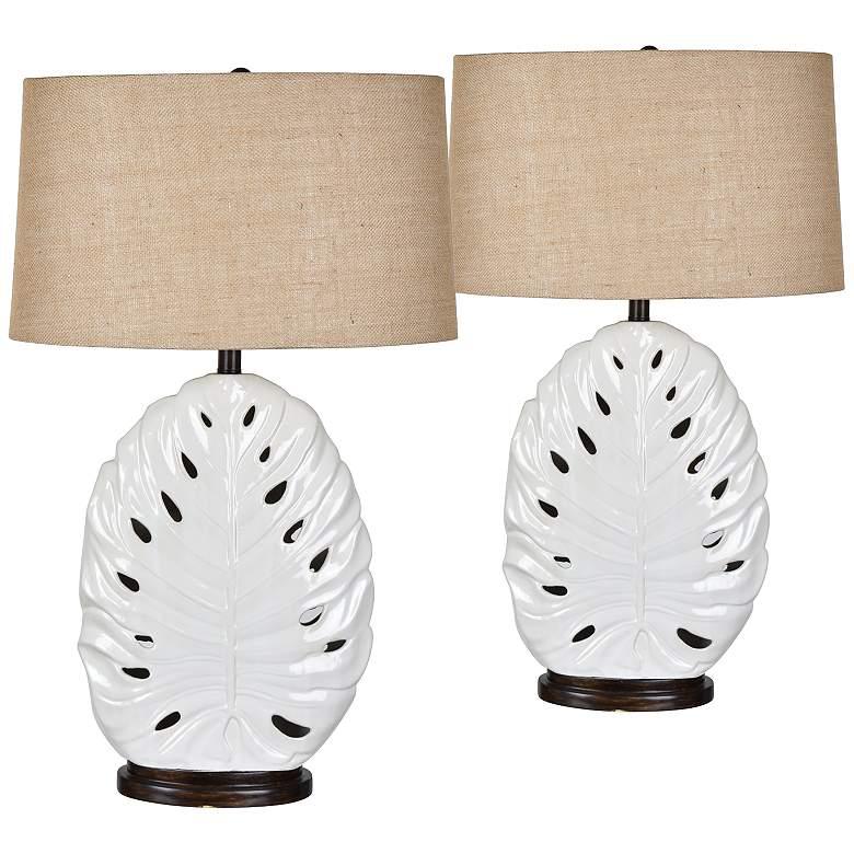 Leaf White Ceramic Nightlight Table Lamps Set of