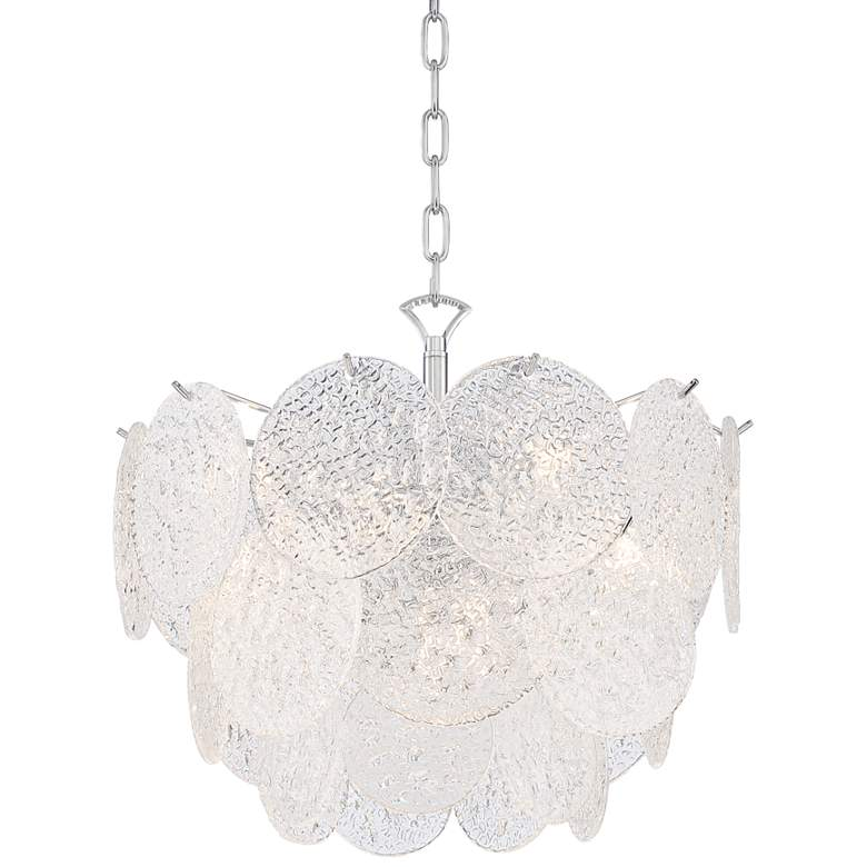 "Soraya 20"" Wide Chrome and Crystal Glass LED Pendant Light"