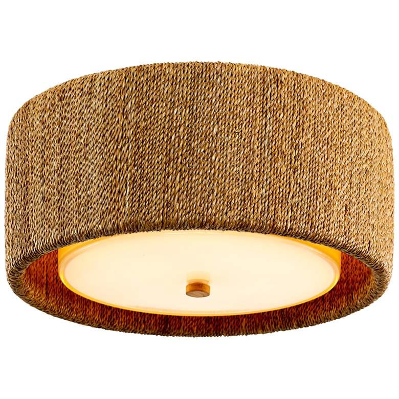 """Bimini 15 3/4""""W Natural Lampakanai Drum LED Ceiling Light"""