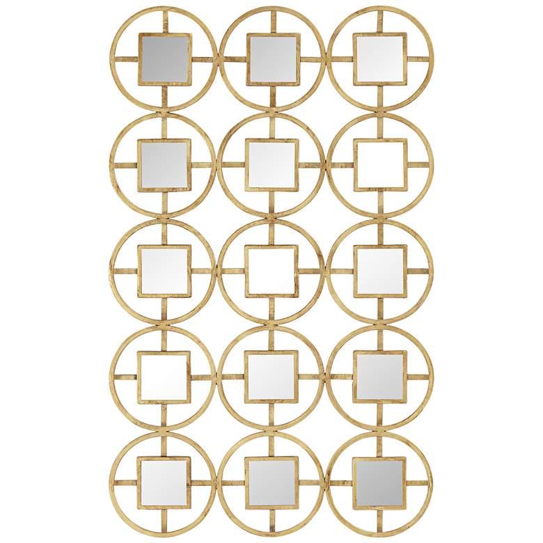 "Verna 40 1/2""H Glossy Gold Circle Metal Mirrored Wall Art"