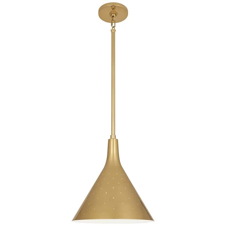 """Robert Abbey Pierce 12 1/2"""" Wide Modern Brass Pendant Light"""