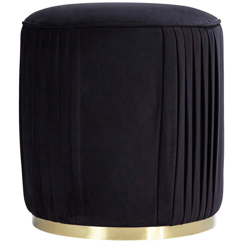 Odessa Round Black Ottoman with Gold Band