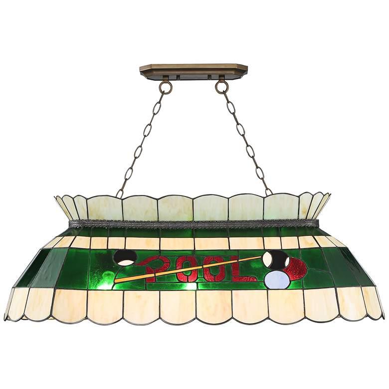 "Rioto 42 1/4""W Bronze Tiffany-Style Pool Table Pendant Light"