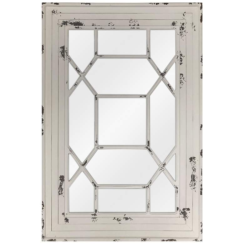 """Ethan Distressed White Wood 31 1/2"""" x 47 1/4"""" Wall Mirror"""