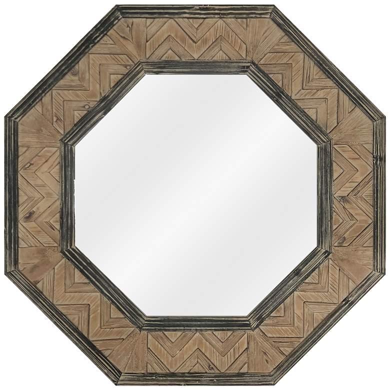 "Tucker Natural and Black Wood 35 1/2"" Octagon Wall Mirror"