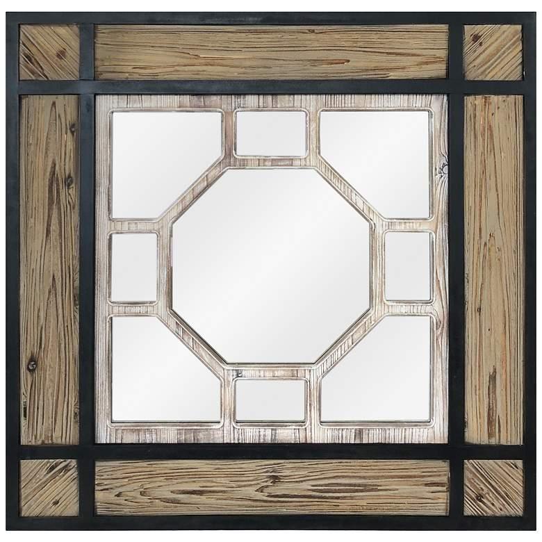 "Cody Natural and Black Wood 35 1/2"" Square Wall Mirror"