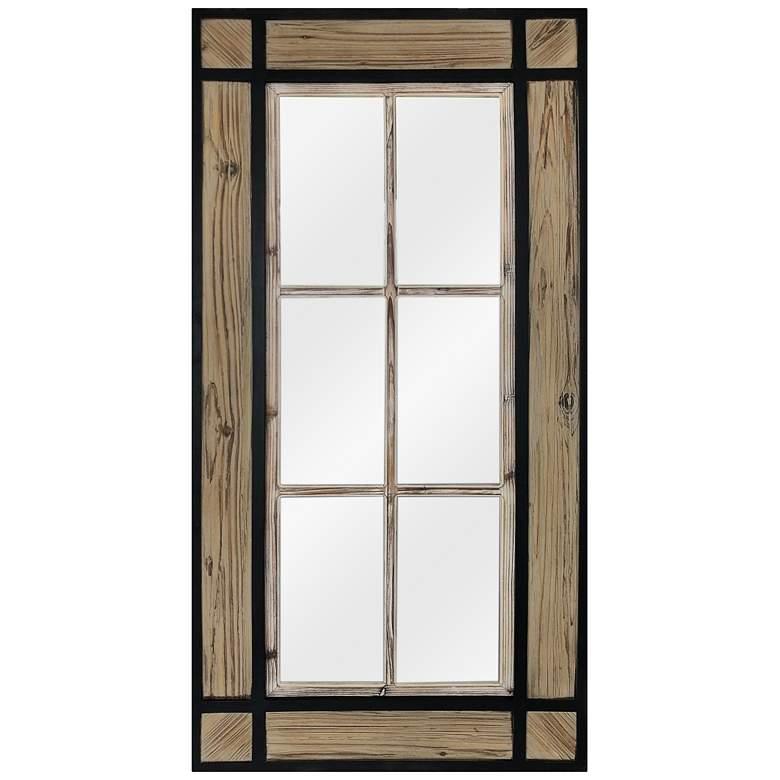 "Jacob Natural and Black Wood 29"" x 58 1/4"" Wall Mirror"