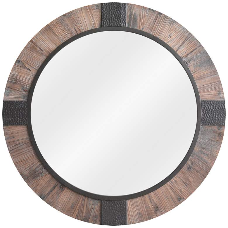 "Rustic Reflection II Wood 39 1/2"" Round Oversized Mirror"