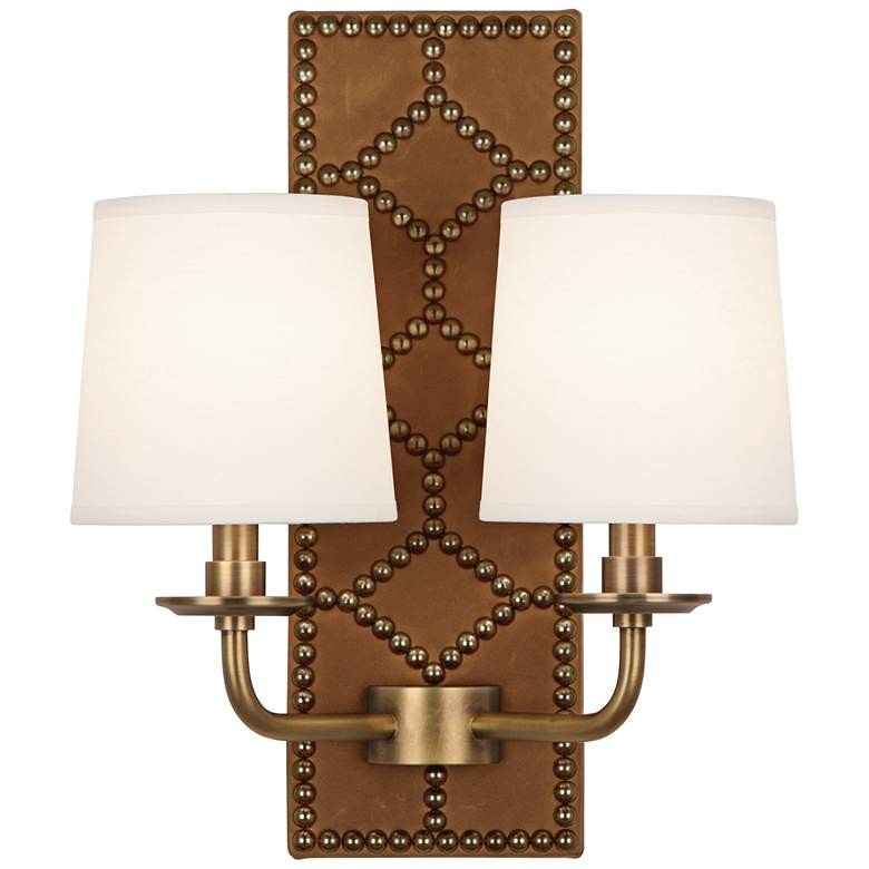 """Lightfoot 16 1/2""""H Aged Brass with Ochre Leather Wall Sconce"""