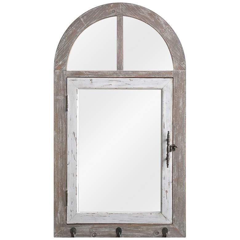 """Sofia Wood 20 1/2"""" x 36"""" Arch Top Wall Mirror"""