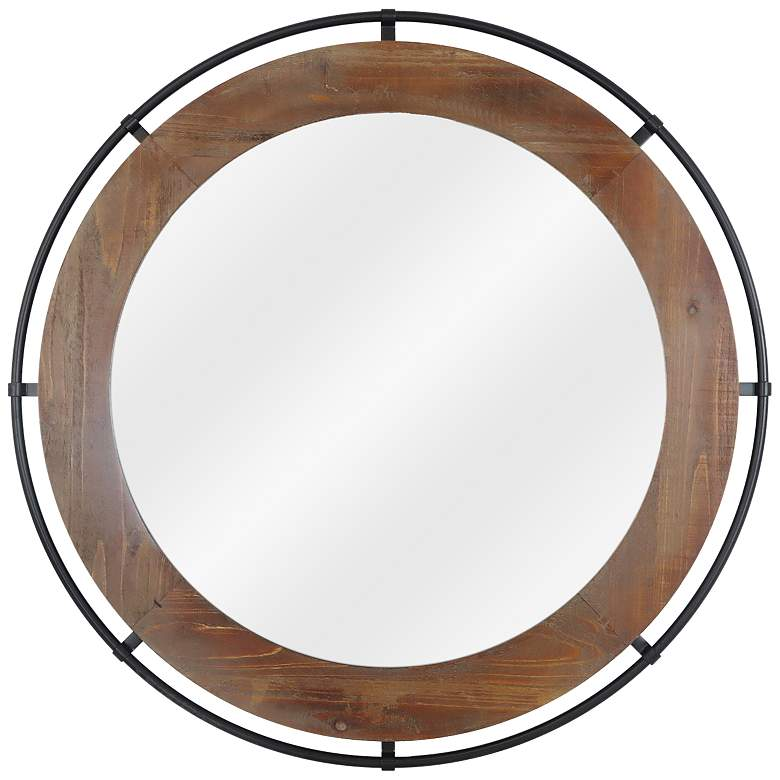 "Linked Black and Wood 31"" Round Wall Mirror"