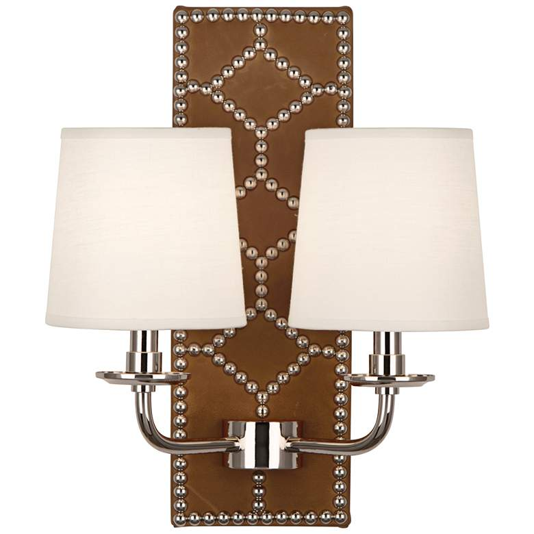"""Lightfoot 16 1/2""""H Polished Nickel with Ochre Leather Sconce"""