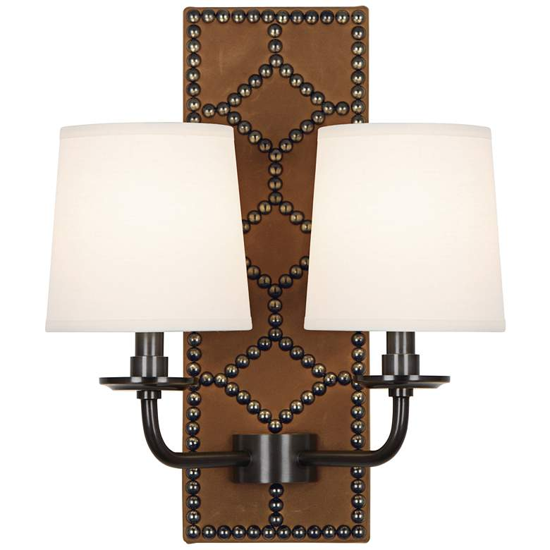 """Lightfoot 16 1/2""""H Patina Bronze with Ochre Leather Sconce"""