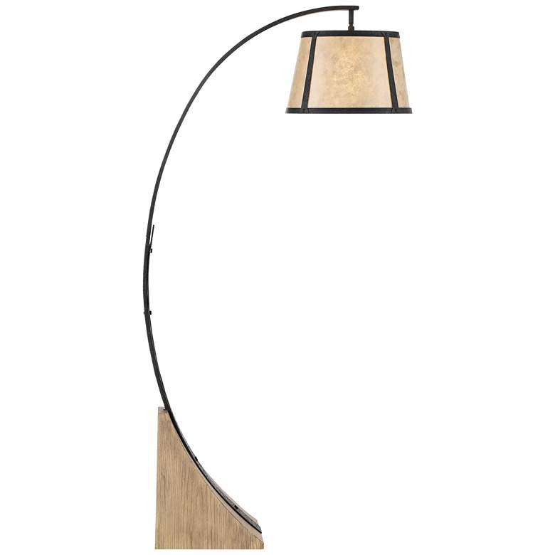 Oak River Gray and Blond Mica Arc Floor Lamp