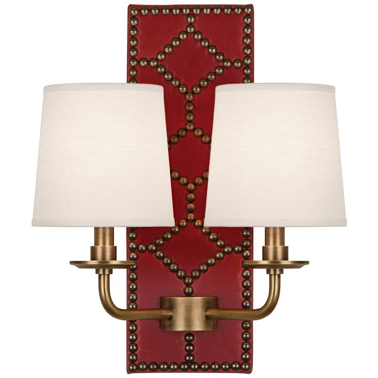 """Lightfoot 16 1/2""""H Aged Brass w/ Dragons Leather Wall Sconce"""