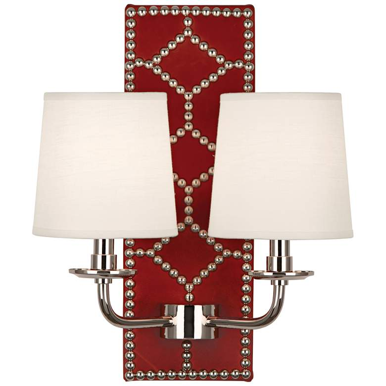 """Lightfoot 16 1/2""""H Polished Nickel w/ Dragons Leather Sconce"""