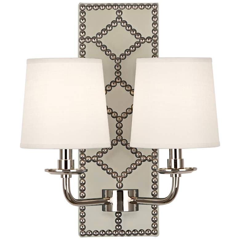 """Lightfoot 16 1/2""""H Polished Nickel w/ Bruton Leather Sconce"""