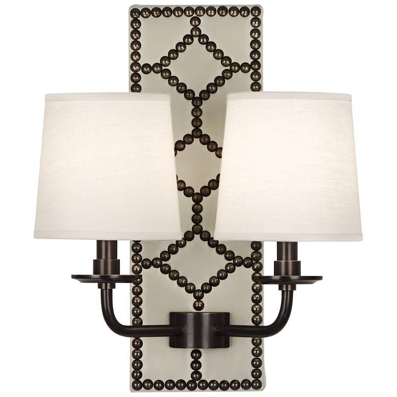 """Lightfoot 16 1/2""""H Patina Bronze with Bruton Leather Sconce"""