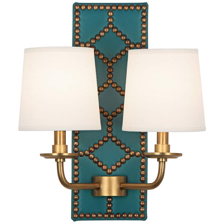 """Lightfoot 16 1/2""""H Aged Brass with Mayo Teal Leather Sconce"""