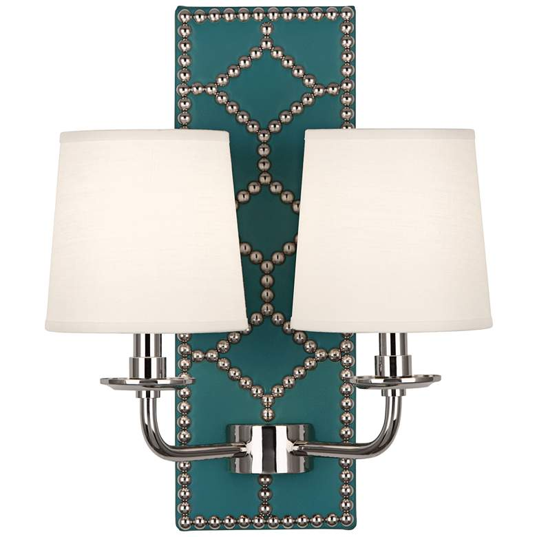"Lightfoot 16 1/2""H Polished Nickel with Mayo Leather Sconce"