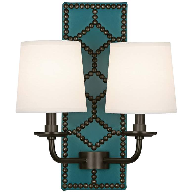 """Lightfoot 16 1/2""""H Patina Bronze w/ Mayo Teal Leather Sconce"""