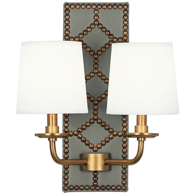 """Lightfoot 16 1/2""""H Aged Brass w/ Carter Leather Wall Sconce"""