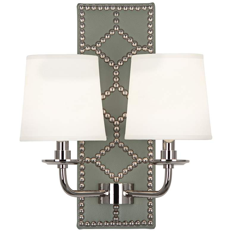 "Lightfoot 16 1/2""H Polished Nickel w/ Carter Leather Sconce"